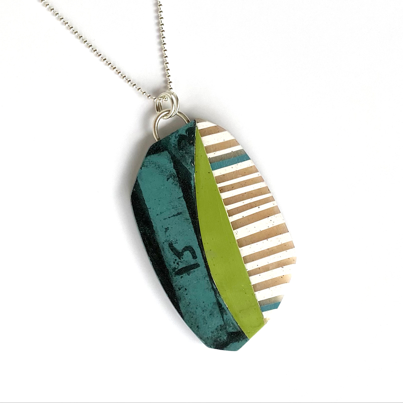 Collage pendant, sterling silver and polymer clay. Jane Pellicciotto