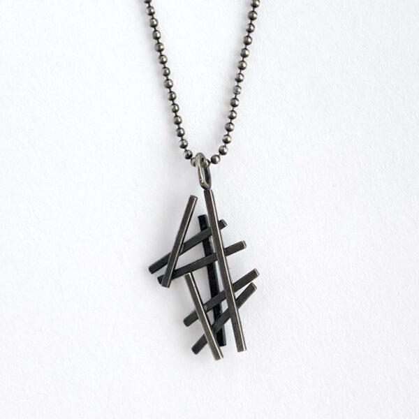 Sterling silver crosshatch pendant. Jane Pellicciotto