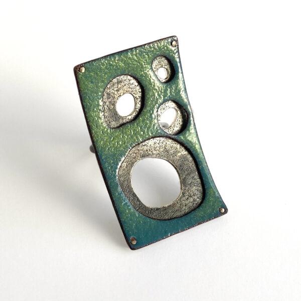 Tidepool ring. Enamel on copper, sterling silver. Jane Pellicciotto