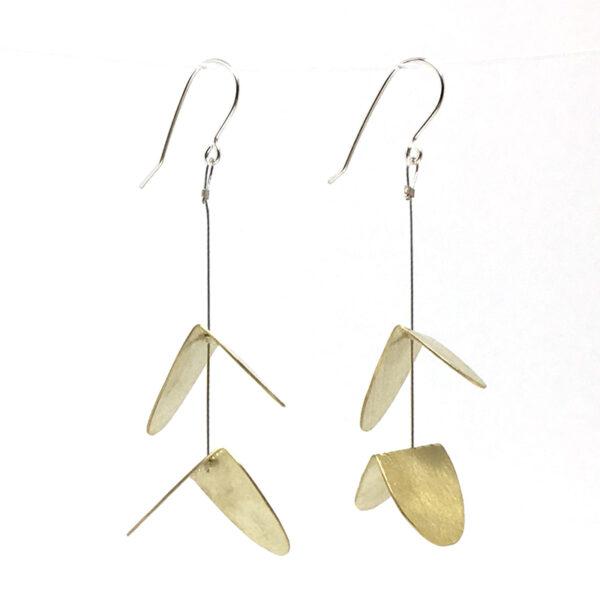 Bronze fold dangle earrings. Jane Pellicciotto