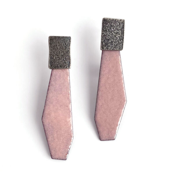 Pale pink enamel and sterling silver post earrings. Jane Pellicciotto