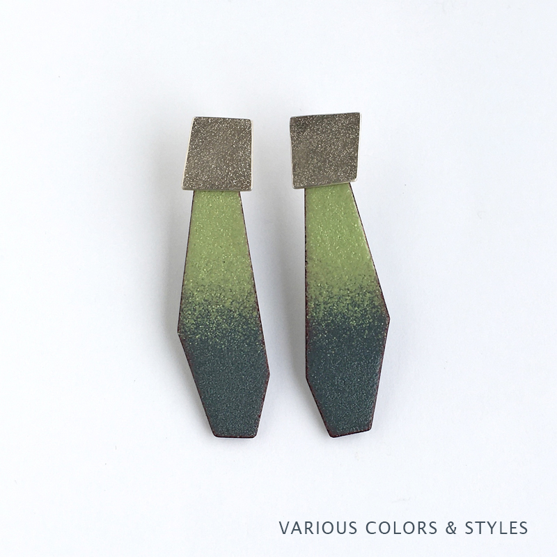 Lichen green and gray ombre enamel and sterling silver post earrings. Jane Pellicciotto