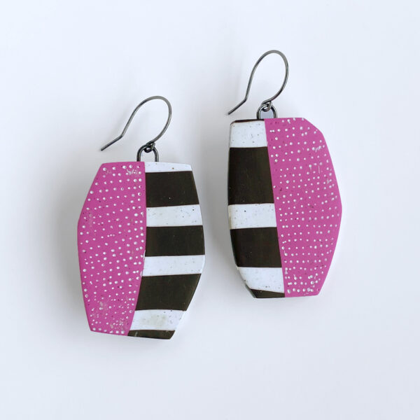 Stripes and dots pink and brown earrings. Polymer clay and sterling silver. Jane Pellicciotto