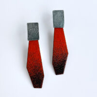 Enamel and sterling silver red and black ombre earrings. Jane Pellicciotto