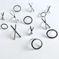 XO stud earring. Sterling silver. Jane Pellicciotto