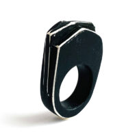 Layered slab black and white ring, polymer clay. Jane Pellicciotto