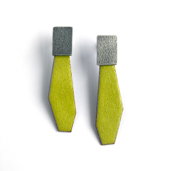 Lime green enamel and sterling silver post earrings. Jane Pellicciotto