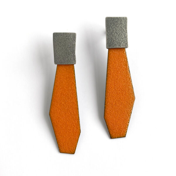 Orange enamel and sterling silver post earrings. Jane Pellicciotto