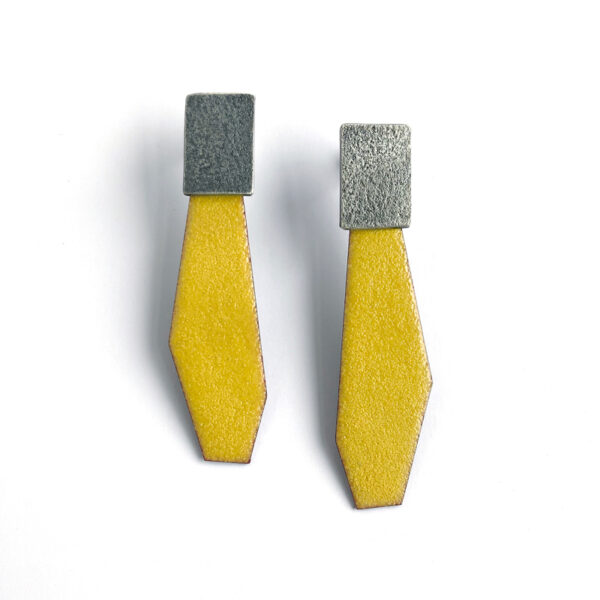 Yellow enamel and sterling silver post earrings. Jane Pellicciotto