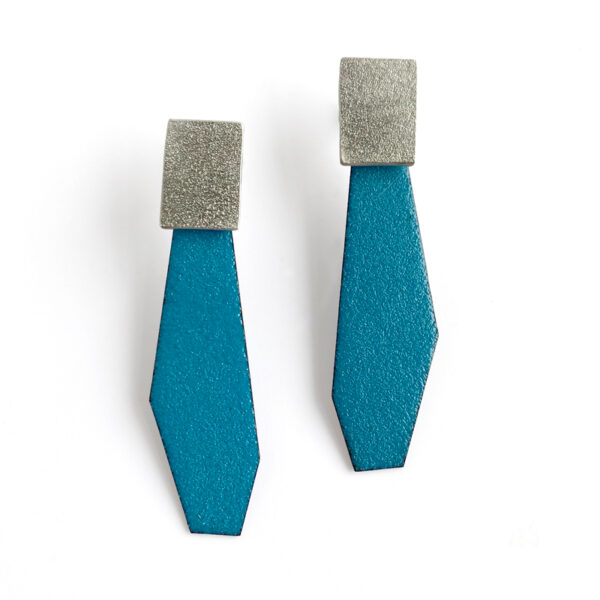 Teal enamel and sterling silver post earrings. Jane Pellicciotto