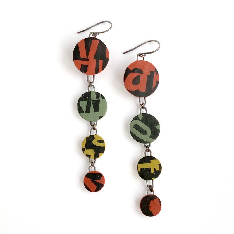 Typographic earrings. Polymer clay. Jane Pellicciotto