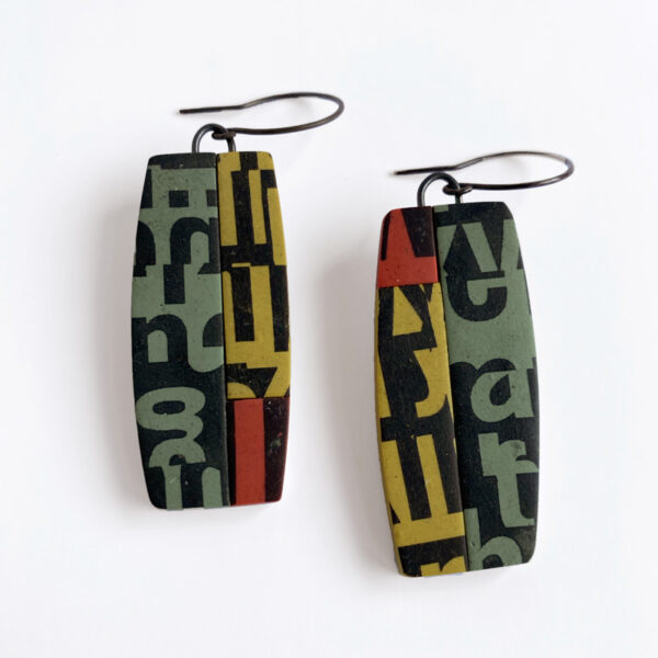 Type Collage earrings. Polymer clay and stering silver. Jane Pellicciotto