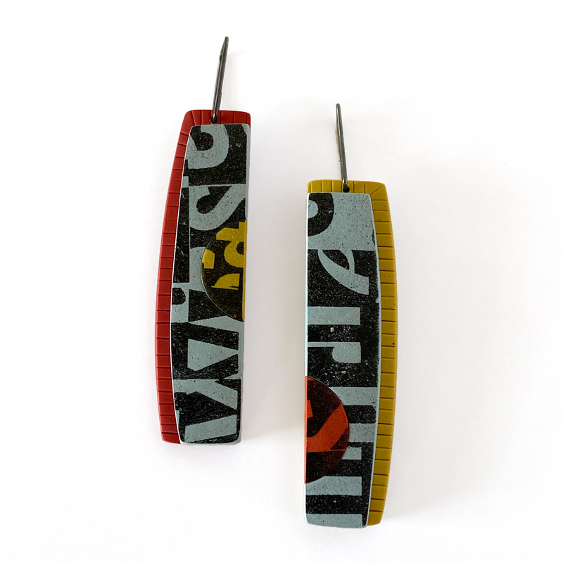 Type Collage Earrings. Jane Pellicciotto