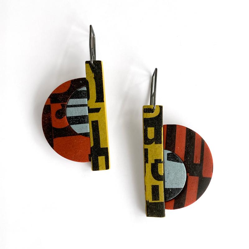 Type Collage Earrings. Jane Pellicciotto