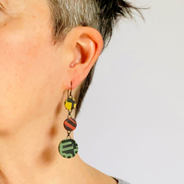Typographic dangle earrings. Polymer clay. Jane Pellicciotto