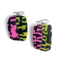 Typographic earrings. Polymer clay, image transfer. Jane Pellicciotto