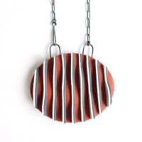 Ripple Pendant. Polymer clay and sterling silver. Jane Pellicciotto.