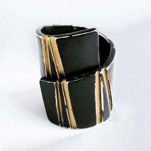 Gorge Cuff Bracelet, polymer clay, acrylic paint. Jane Pellicciotto