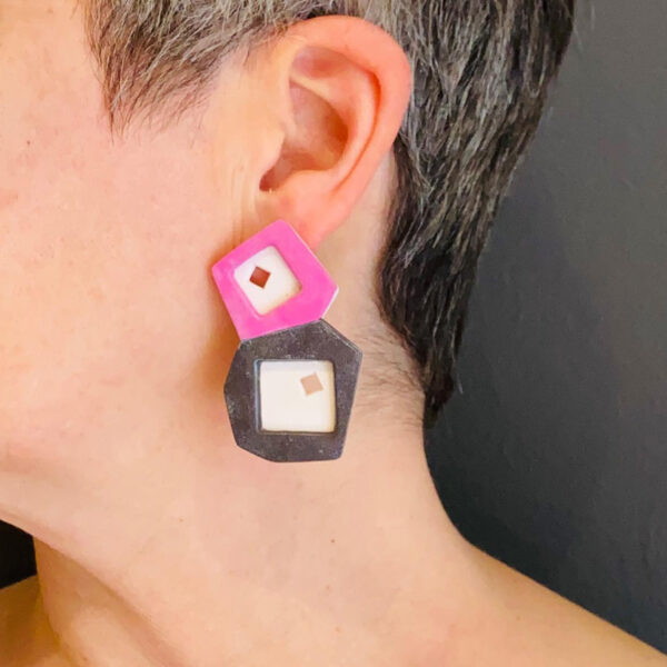 Pink, brown and white tile statement earrings. Polymer clay. Jane Pellicciotto