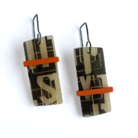 Orange Bar Type Earrings. Polymer clay and sterling silver. Jane Pellicciotto