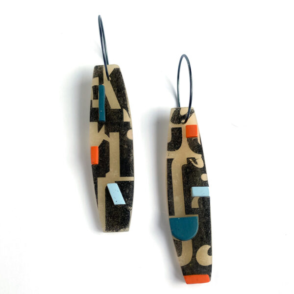 Bateau Type Earrings. Polymer clay and sterling silver. Jane Pellicciotto