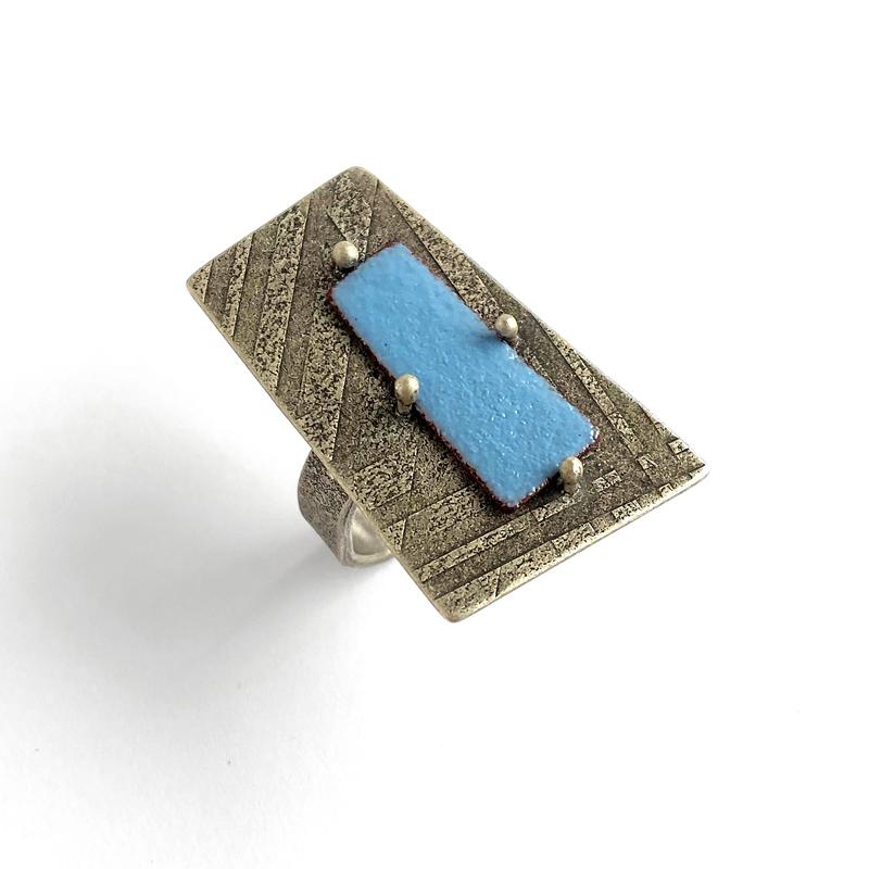Enamel Wedge Ring. enamel on copper, sterling silver. Jane Pellicciotto