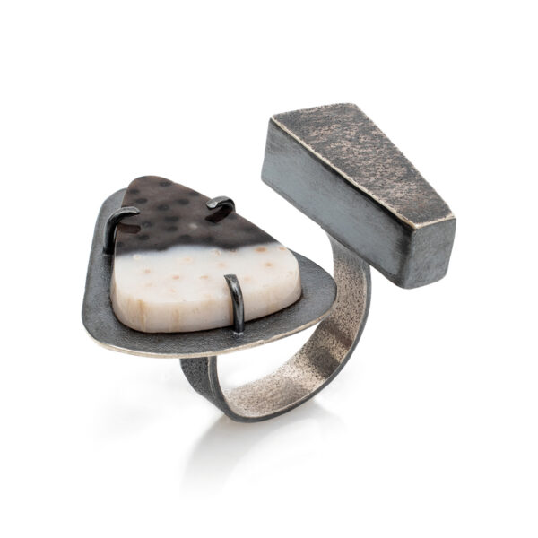 Petrified Palmwood Ring with Sterling Silver. Jane Pellicciotto