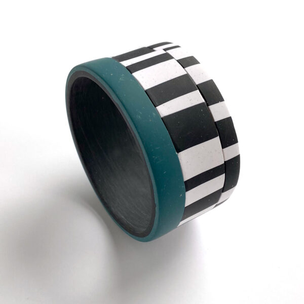 Offset stripe polymer clay cuff bracelet. Jane Pellicciotto