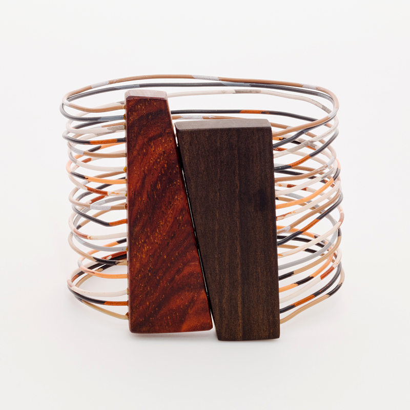 Wood and reclaimed telephone wire cuff bracelet. Jane Pellicciotto