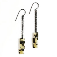 Sterling silver and polymer shoulder duster earrings. Jane Pellicciotto