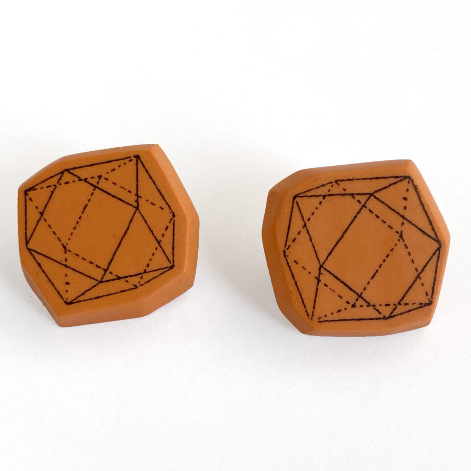 Gemmy post earrings. Polymer clay. Jane Pellicciotto