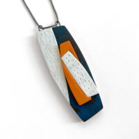 Textured, overlapping polymer clay pendant with boat-like shapes. Jane Pellicciotto