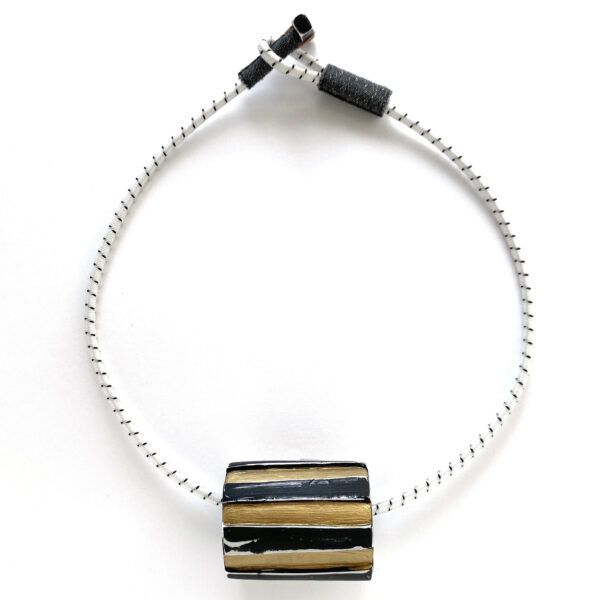 Chunky bead choker. Polymer clay with acrylic paint, bungee cord. Jane Pellicciotto