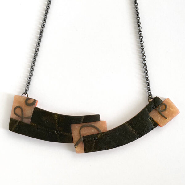 Crescent collage necklace. Polymer clay and sterling silver. Jane Pellicciotto